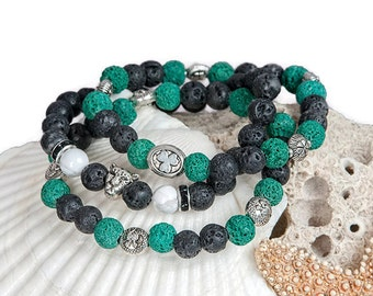 Oil Diffuser Bracelet ~ Essential Oil Jewelry ~ Lava Bracelet ~ Green Bracelet ~ Stackable Bracelets ~ Layered Bracelets ~ Irish Bracelet