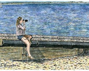 Girl Beach Seaside Photographer Print - Picture Perfect - Watercolour Art Print Sea Groyne Camera Painting