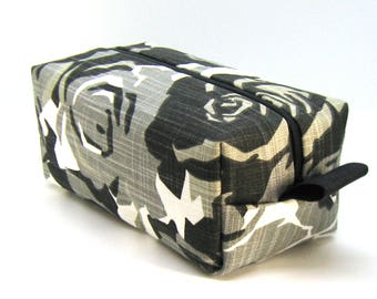 Makeup Bag Cosmetic Case - Black and Gray Geometric Floral