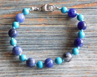 """7.25"""" Waves of Calm Healing Gemstone Bracelet Knotted on Nylon with Sterling Silver Findings Healing Crystals, Infused with Intention"""