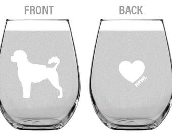 Curly Coated Portuguese Water Dog Wine Glass Set