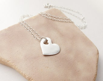 Silver heart pendant etsy silver heart pendant large heart necklace bridesmaid necklace silver bridesmaid jewelry keepsake mozeypictures Images
