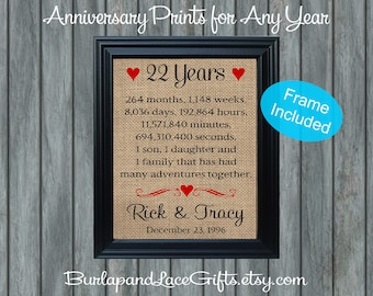 22nd Wedding Anniversary Gift/22 years of marriage/22nd Anniversary Gift/22nd Anniversary Gift for Wife /Framed Gift (ana207-22a)