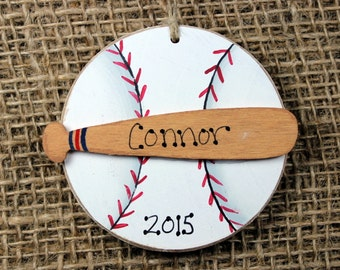 Baseball and Bat Handpainted Wooden Ornament Personalized