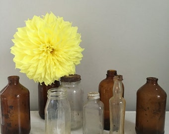 Vintage apothecary bottles, vintage glass bottles, antique glass vases