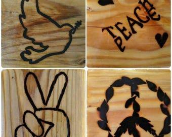 4 Piece Pine Wood Repurposed Pyrographic Peace Coaster Tile Set