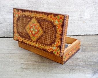 Vintage Wooden Box, Pyrography Box, Hand painted Wooden Box, Jewelry Box, 70's Box, Vintage Bulgarian Box