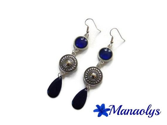 Drops earrings Navy Blue, ethnic, enamel, Navy blue glass cabochons