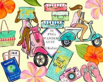 INSTANT DOWNLOAD - wanderlust clipart, travel girl, fashion girl, fashion illustration, fashion girl graphics, scrapbook, planner sticker