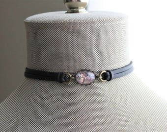 Purple Opal Leather Choker and/or Bracelet. Choose from 9 leather colors