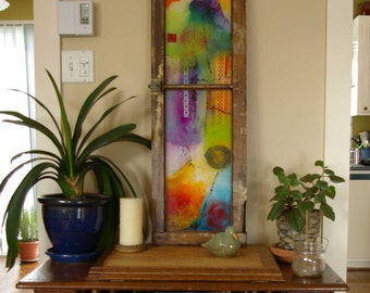 Modern abstract artwork in a vintage window frame, acrylic on plexiglass