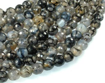 Dragon Vein Agate Beads, Black & Clear, 10mm Faceted Round Beads, 14.5 Inch, Full strand, Approx 37 beads, Hole 1mm (122025316)