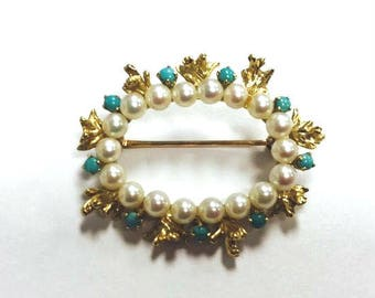 Antique 14k Yellow Gold brooch / pin with Turquoise and pearls