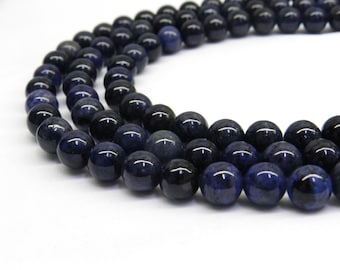 Dumortierite Beads, 8mm Beads, Blue Dumortierite, Rare Gemstone, Gemstone Beads, Blue Beads, Navy Blue Beads, 6mm Beads, Rare Beads Gemstone