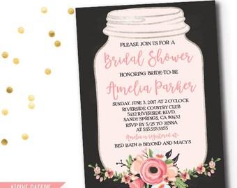 Mason Jar Chalkboard Floral Invitation, Bridal Shower Invitation, Floral Bridal Shower, Blush Floral Wedding Invite, Pink Bridal Shower,28