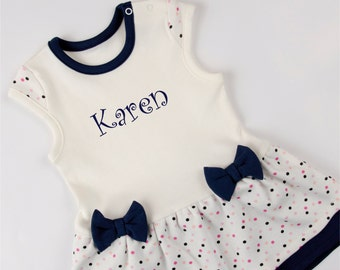 Personalized Baby Bodysuit Dress, Navy Blue/Cream/Polka Dots Baby Dress, Newborn to 12-18 months, Personalized Baby Gift
