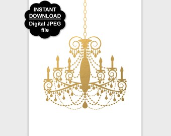 Gold Chandelier Print, Chandelier Wall Art, Printable Chandelier Poster Gold Decor, Girl Nursery Wall Decor 5x7 8x10 11x14 Instant Download