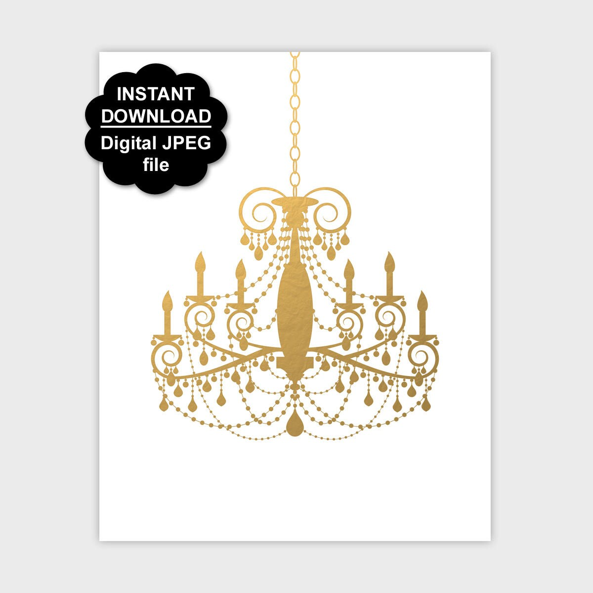 Gold chandelier print chandelier wall art printable zoom arubaitofo Choice Image