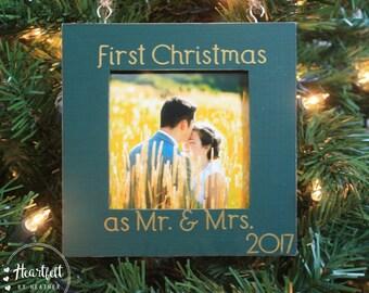 Newlywed Christmas Ornament Newlywed Christmas Gift First Christmas as Mr and Mrs Ornament First Married Christmas Ornament Photo Gift