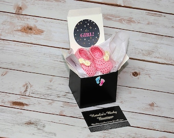 Baby gender reveal booties gender reveal shoes It's a Girl It's a Boy baby shower gift grandparent gender reveal