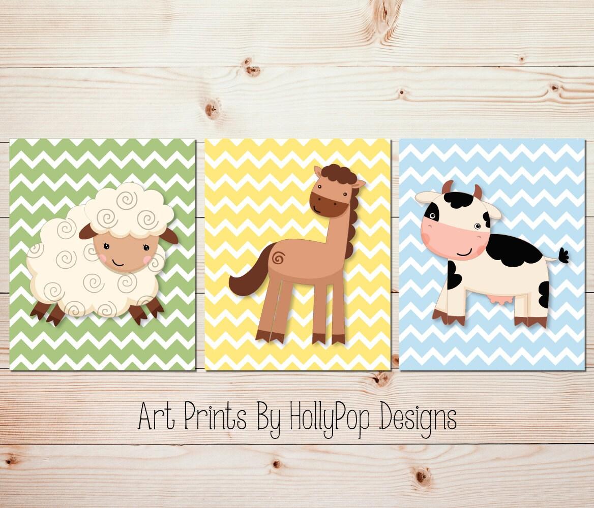 Farm animal nursery art Boy nursery Country boy decor Baby