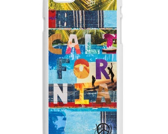 NEW iPhone 7/7+ Case,  California Tapestry, Betty Designs Collab. CA, Surf, Surf Art, Palms, Swim, Bike, Avail w/Black or White case color