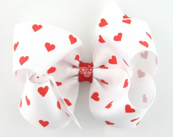 White and Red Hair Bow - Baby Toddler Girl -  4 Inch Boutique Bow on Alligator Clip Barrette -White and  Red