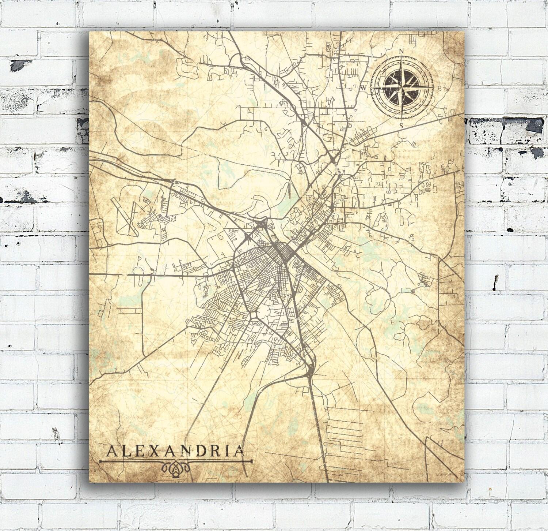 ALEXANDRIA LA Canvas Print Louisiana LA City Vintage Map Town - Louisiana map alexandria