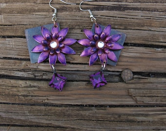 Brass Daisy Earrings in Purple with Swarovski Crystals