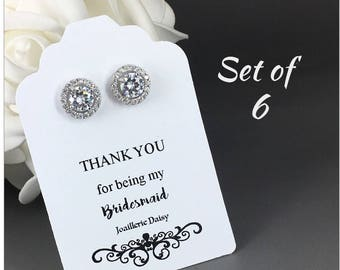 Set of 6 Bridesmaid Earrings Cubic Zirconia Earrings Stud Earrings Bridal Earrings Bridesmaid Gift for Her Maid of Honor Gift for Moms
