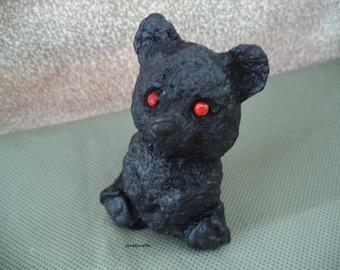Coal figurine ,Bear coal figurine ,1980's figurine ,Stocking stuffer ,Lump of coal