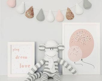 Cloud and water drops, decoration child's room, baby, white cloud, cloud rain drops