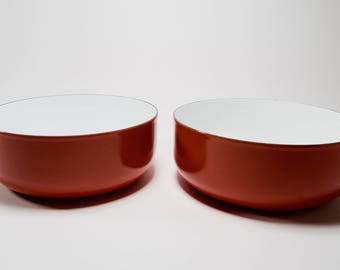 Finel Set of Two Red Enameled Steel Medium Serving Bowls made in Finland