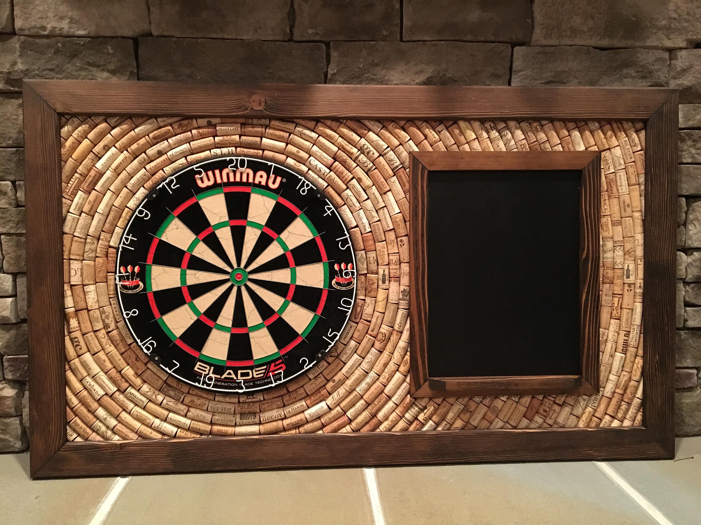 Wine Cork Dartboard Backer with Scoreboard and Dart Storage