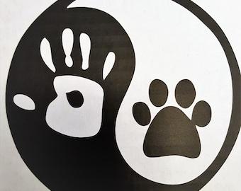 Dog and Human Yin Yang Car Decal