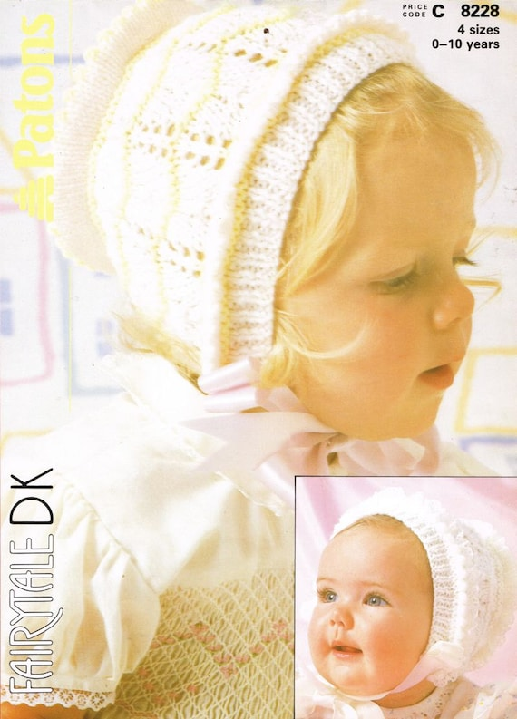 Baby Bonnet Hat Vintage Knitting Pattern Pdf Instant Download