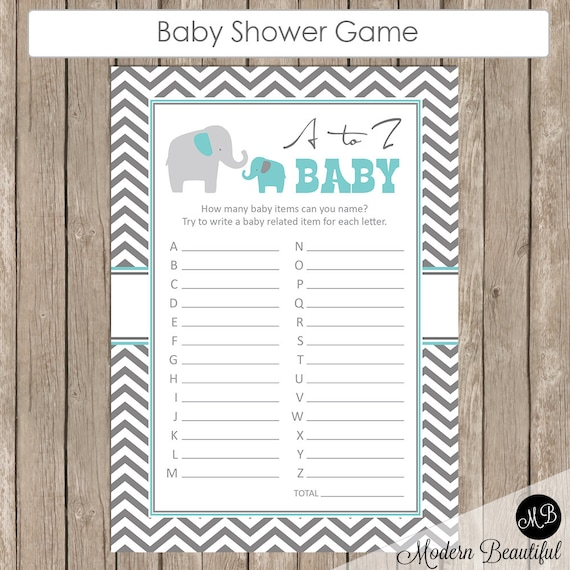 Elephant Baby Shower A To Z Baby Game In Baby Blue And Gray