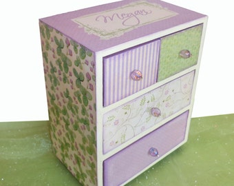 Girls Jewelry Box Personalized English Lavender