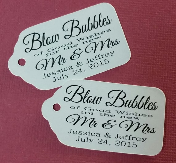 "BUBBLES of Good Wishes Choose your quantity SCRIPT font SMALL 2"" Favor Tag"