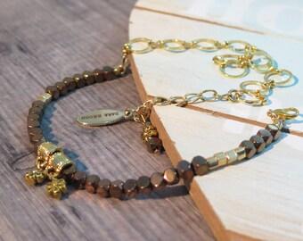 Dangle Bracelet, Gold Wrap Bracelet, Wrap Bracelet, Boho Bracelet, Bohemian Jewelry, Hippie Jewelry, Gypsy Jewelry