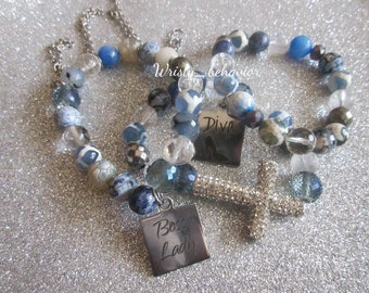 Handmade Beaded blue stretch bracelets