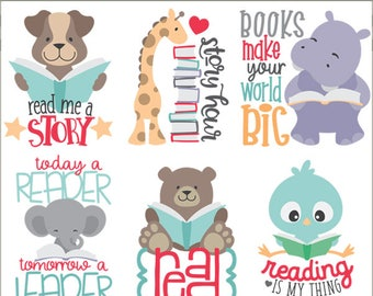 Animals Reading Clipart Personal And Limited Commercial Use Cute With Books Positive Quotes For Kids