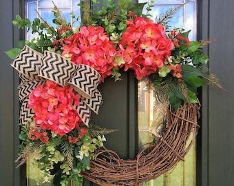 Red Hydrangea Wreath- Summer Colors Wreath- Front Door Wreath- Grapevine Wreath- Summer Wreath for Front Door