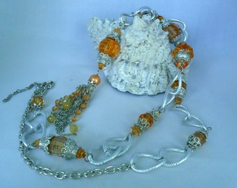 Long Orange and Silver Necklace - Acrylic Plastic Beads - Big, Small Beads Spacers- Fashion Jewelry - Tassels Chain Pendant - Gift IdeaP