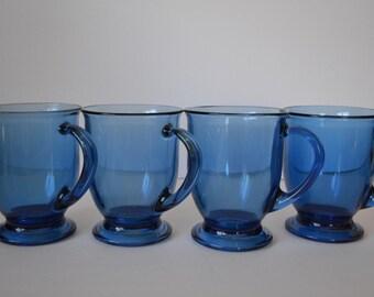 Anchor Hocking Cobalt Blue Pedestal Mugs - set of 4