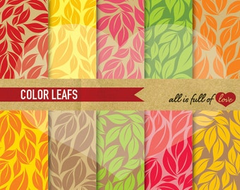 Autumn DIGITAL Scrapbooking Paper Pack Leafs Patterns Pack Thanksgiving Digital Background Fall Patterned card stock