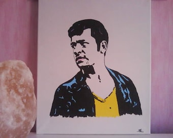 """Painted on canvas black white yellow blue """"Gregory"""" 30 x 40 POP ART"""