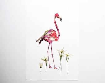Flamingo art Pressed flower art Dry flower arrangement Botanical art Dried flowers Original artwork Pink flamingos Pressed flowers wall art