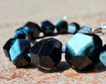 Natural Stone Agate Statement Necklace - Black/Turquoise, Pink/Grey, Pink/Lime Quartz