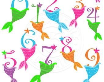 Mermaid Numbers Cute Digital Clipart, Numbers with Mermaid Tails, Cute Mermaid Birthday Numbers, Mermaid Clip Art, Mermaid Graphics
